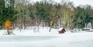 Χειμερινή σκηνή με την παγωμένη λίμνη Στοκ φωτογραφία με δικαίωμα ελεύθερης χρήσης