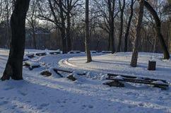 Χειμερινή σκηνή με τον πάγκο πάρκων, Sofia Στοκ Εικόνες