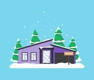 Χειμερινή σκηνή με το σπίτι Στοκ Εικόνα