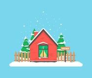 Χειμερινή σκηνή με το σπίτι Στοκ Φωτογραφία