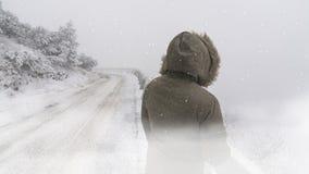 Χειμερινή σκηνή με το χιόνι και τη γυναίκα κοντά στο δρόμο στοκ εικόνα