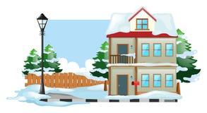 Χειμερινή σκηνή με το χιόνι στο έδαφος διανυσματική απεικόνιση