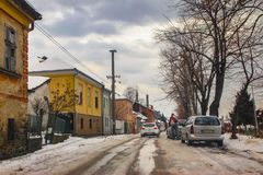 Χειμερινή σκηνή στην οδό της πόλης στοκ εικόνα