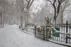 Χειμερινή σκηνή στο τετραγωνικό πάρκο του Μάντισον, Μανχάταν, NYC στοκ εικόνα