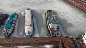 Χειμερινή στάση των λογιστικών σκαφών, εναέρια μαγνητοσκόπηση απόθεμα βίντεο