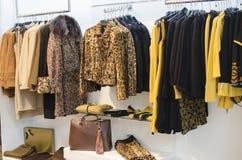 Χειμερινή συλλογή φθινοπώρου σε ένα κατάστημα μόδας των γυναικών Στοκ Εικόνα