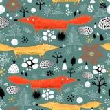 Χειμερινή σύσταση με τις αλεπούδες διανυσματική απεικόνιση