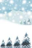 Χειμερινοί βουνά και λόφοι Χαρούμενα Χριστούγεννας - γραφική σύσταση ζωγραφικής διανυσματική απεικόνιση