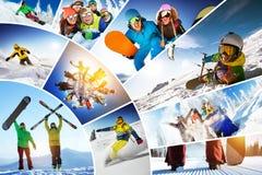 Χειμερινός αθλητισμός σνόουμπορντ σκι κολάζ μωσαϊκών στοκ εικόνα
