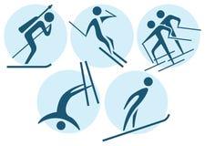 Χειμερινός αθλητισμός - χειμερινά εικονίδια καθορισμένα Στοκ Φωτογραφίες