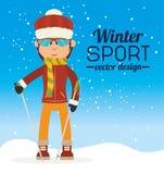 Χειμερινός αθλητισμός και εξαρτήματα ένδυσης Στοκ Φωτογραφίες