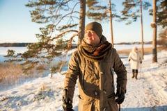 Χειμερινός αθλητισμός στη Φινλανδία - σκανδιναβικό περπάτημα στοκ φωτογραφίες με δικαίωμα ελεύθερης χρήσης