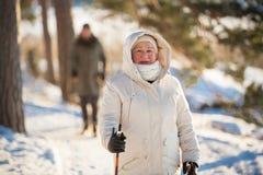 Χειμερινός αθλητισμός στη Φινλανδία - σκανδιναβικό περπάτημα στοκ εικόνα με δικαίωμα ελεύθερης χρήσης