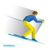 Χειμερινός αθλητισμός - alpine skiing Σκιέρ κινούμενων σχεδίων που τρέχει προς τα κάτω Στοκ φωτογραφίες με δικαίωμα ελεύθερης χρήσης