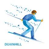 Χειμερινός αθλητισμός - alpine skiing Σκιέρ κινούμενων σχεδίων που τρέχει προς τα κάτω Στοκ Εικόνες