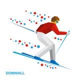 Χειμερινός αθλητισμός - alpine skiing Σκιέρ κινούμενων σχεδίων που τρέχει προς τα κάτω Στοκ Φωτογραφία