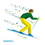 Χειμερινός αθλητισμός - alpine skiing Σκιέρ κινούμενων σχεδίων που τρέχει προς τα κάτω Στοκ Εικόνα