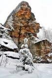 Χειμερινός δασικός βράχος Στοκ Φωτογραφία