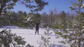 Χειμερινός δασικός ταξιδιώτης που κυματίζει το χέρι του στη κάμερα Όμορφο ηλιόλουστο πρωί στο χειμερινό δάσος φιλμ μικρού μήκους