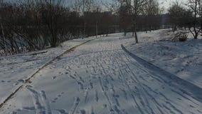 Χειμερινός δρόμος που βλέπει άνωθεν, αλέα πάρκων απόθεμα βίντεο