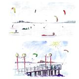 Χειμερινός ικτίνος που κάνει σερφ την παγωμένη θάλασσα - σκίτσο watercolor Στοκ Εικόνες