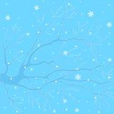 Χειμερινός κλάδος με snowflakes Στοκ Εικόνες