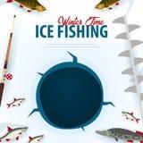 Χειμερινός πάγος που αλιεύει στη λίμνη Έμβλημα με τη βίδα ψαριών, ράβδων και πάγου Διανυσματική επίπεδη απεικόνιση διανυσματική απεικόνιση