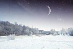 Χειμερινός ποταμός τη νύχτα τοπίο της Ανατολικής Ευρώπης Στοκ Εικόνα