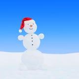 Χειμερινός χιονάνθρωπος στο καπέλο santa Στοκ Εικόνες