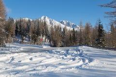 Χειμερινός χιονισμένος δρόμος με τις απόψεις των χιονωδών βουνών αιχμών στοκ εικόνα