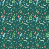 Χειμερινό άνευ ραφής σχέδιο με τις διακοσμήσεις Χριστουγέννων στο πράσινο υπόβαθρο διανυσματική απεικόνιση