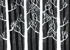 Χειμερινό δάσος - άσπρο μελάνι στο μαύρο καμβά Στοκ Εικόνες