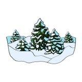 Χειμερινό δάσος στο άσπρο υπόβαθρο επίσης corel σύρετε το διάνυσμα απεικόνισης Στοκ εικόνες με δικαίωμα ελεύθερης χρήσης