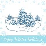 Χειμερινό δάσος στο λευκό επίσης corel σύρετε το διάνυσμα απεικόνισης Στοκ Φωτογραφίες