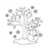 Χειμερινό δέντρο, εύθυμος χιονάνθρωπος, εποχιακά σημάδια του χειμώνα Στοκ Εικόνα