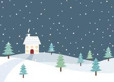 Χειμερινό αγροτικό τοπίο Χριστουγέννων με το ενιαίο σπίτι Στοκ Φωτογραφία