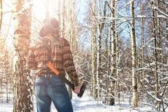 Χειμερινό δασικό άτομο σημύδων με το τσεκούρι Στοκ φωτογραφίες με δικαίωμα ελεύθερης χρήσης