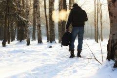 Χειμερινό δασικό άτομο Στοκ εικόνα με δικαίωμα ελεύθερης χρήσης
