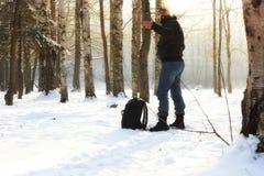 Χειμερινό δασικό άτομο Στοκ Φωτογραφία