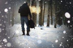 Χειμερινό δασικό άτομο Στοκ εικόνες με δικαίωμα ελεύθερης χρήσης