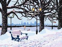 Χειμερινό βράδυ στο πάρκο ελεύθερη απεικόνιση δικαιώματος