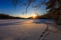 Χειμερινό βράδυ στη λίμνη Στοκ Εικόνα