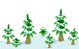 Χειμερινό δάσος πεύκων στα οριζόντια άνευ ραφής σύνορα Στοκ εικόνα με δικαίωμα ελεύθερης χρήσης