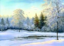 χειμερινό δάσος ελεύθερη απεικόνιση δικαιώματος