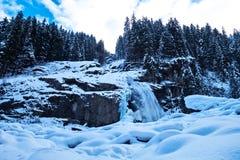 Χειμερινό δασικό υπόβαθρο, στην Αυστρία Στοκ Φωτογραφία