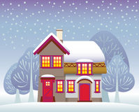 Χειμερινό εξοχικό σπίτι Στοκ Εικόνες