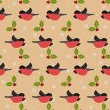 Χειμερινό εορταστικό σχέδιο με τα bullfinches και τον κλάδο της Holly στο τ Στοκ Φωτογραφίες