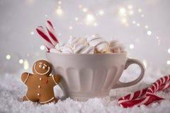 Χειμερινό ζεστό ποτό, κακάο με marshmallows και τα μπισκότα ατόμων μελοψωμάτων, πικάντικο καυτό εορταστικό υπόβαθρο σοκολάτας στοκ φωτογραφία