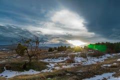 Χειμερινό ηλιοβασίλεμα με το μόνο δέντρο και το δραματικό ουρανό Ρωσία, Stary Krym Στοκ Εικόνες