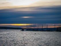 Χειμερινό ηλιοβασίλεμα στο Όσλο, Νορβηγία Στοκ Εικόνα